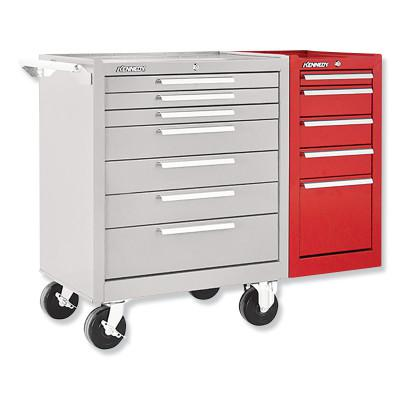 KENNEDY Hang-On Cabinets, 13 5/8 in x 20 in x 29 in, 5 Drawers, Smooth Red, w/Slides