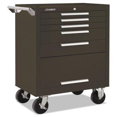 KENNEDY Industrial Series Roller Cabinets, 27 x 18 x 35, 5 Drawers, Brown, w/Slide
