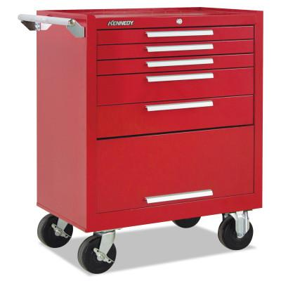 KENNEDY Industrial Series Roller Cabinets, 27 in x 18 in x 35 in, 5 Drawers, Red w/Slide