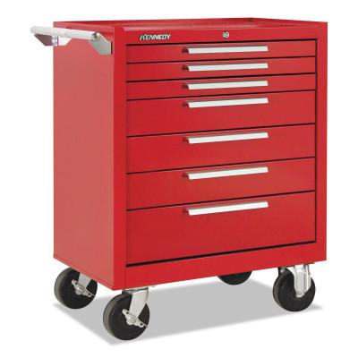 KENNEDY Industrial Series Roller Cabinets, 27 x 18 x 35, 7 Drawers, Smooth Red, w/Slide