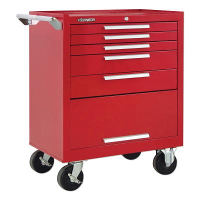 KENNEDY Industrial Series Roller Cabinets, 29 x 20 x 35 in, 5 Drawers, Red, w/Slide
