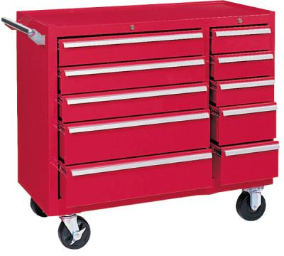 KENNEDY Maintenance Cart, 39-3/8 in w x 18 in d x 35 in h, 10 Drawers, Ball-Bearing, Smooth Red