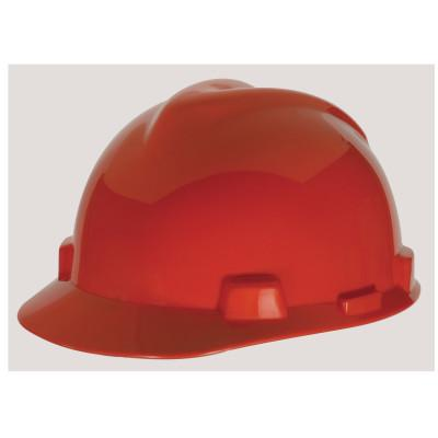 MSA V-Gard 500 Protective Caps, 4 Point Fas-Trac, Red