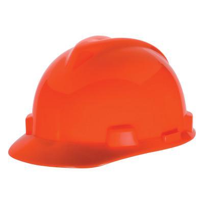 MSA V-Gard 500 Protective Caps, 4 Point Fas-Trac, Hi-Viz Orange