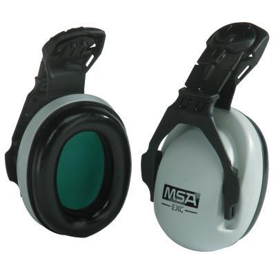 MSA EXC Cap Mounted Earmuffs, 25 dB NRR, Gray, Helmet