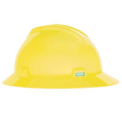 MSA V-Gard Protective Hats, Fas-Trac Ratchet, Hi-Viz Yellow-Green