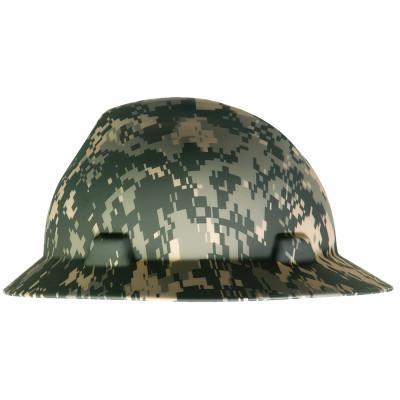 MSA Freedom Series V-Gard Hard Hats, Fas-Trac Ratchet, Full Brim, Camouflage