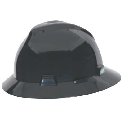 MSA V-Gard Protective Hats, Fas-Trac Ratchet Suspension, 6 1/2 - 8, Black
