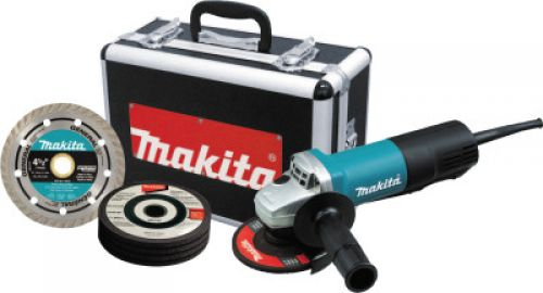 """MAKITA 4 1/2"""" Angle Grinders, 7.5 A, 10,000 rpm, Paddle; On/Off, W/ Dia Wheel & Case"""