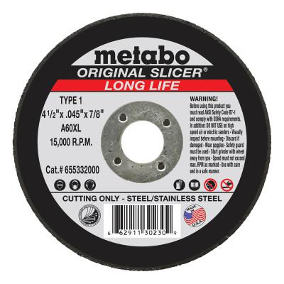 METABO Original Slicer Cutting Wheel, Type 1, 4 1/2 in Dia, 1/16 in Thick, 36 Grit Alum. Oxide