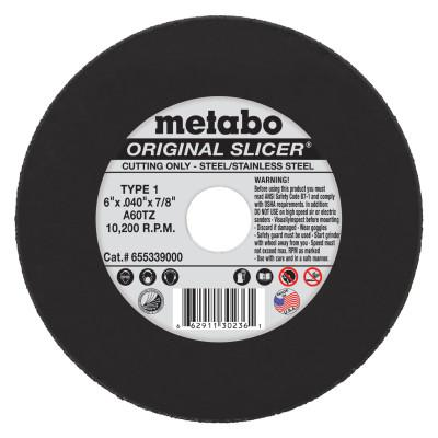 METABO Original Slicer Cutting Wheel, Type 1, 6 in Dia, .04 in Thick, 60 Grit Aluminum Oxide