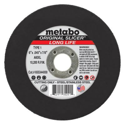 METABO Original Slicer Cutting Wheel, 6 in Dia, .045 in Thick, 36 Grit Aluminum Oxide