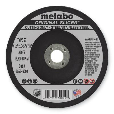 METABO Original Slicer Cutting Wheel, 4 1/2 in Dia, .045 in Thick, 60 Grit Alum. Oxide