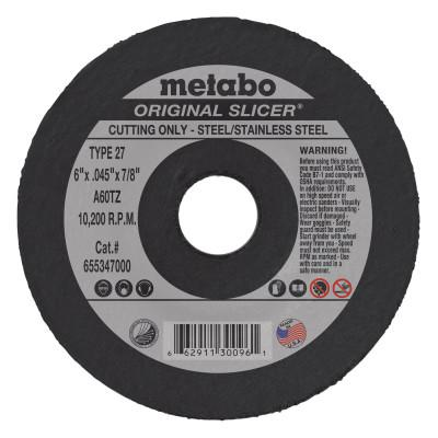 METABO Original Slicer Cutting Wheel, 6 in Dia, .045 in Thick, 60 Grit Aluminum Oxide
