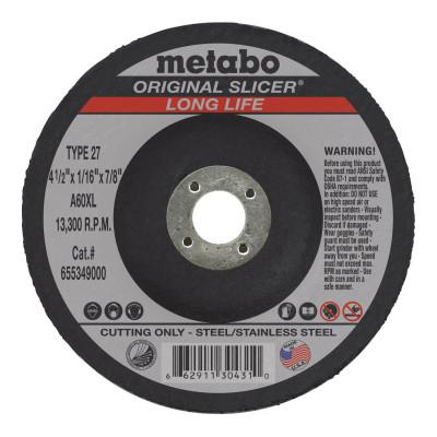METABO Slicer Cutting Wheel, Type 27, 4 1/2 in Dia, 1/16 in Thick, 36 Grit Alum. Oxide