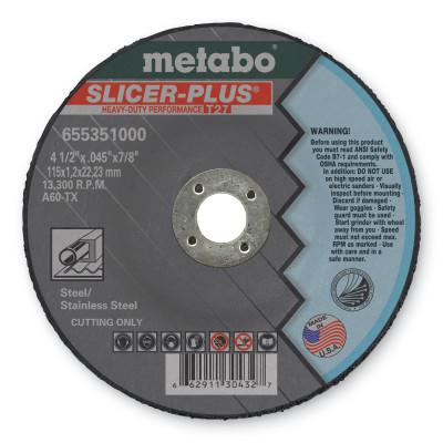 METABO Slicer Plus Cutting Wheel, Type 27, 4 1/2 in Dia, .045 in Thick, 60 Grit