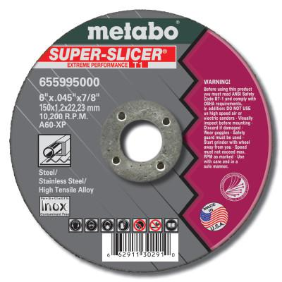 METABO Cutting Wheel, 6 in Dia, .045 in Thick, 7/8 in Arbor, 60 Grit Alum. Oxide