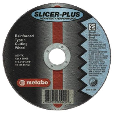 METABO Slicer Plus Cutting Wheel, Type 1, 4 1/2 in Dia, .045 in Thick, 60 Grit