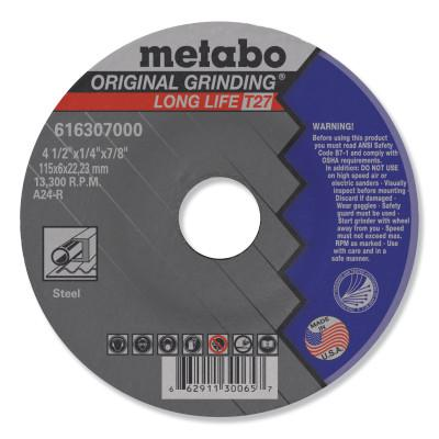 """METABO Grinding Wheel, T27, A24R, 4.5""""X1/4""""X7/8"""""""