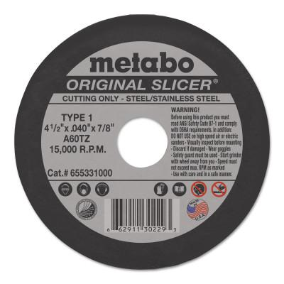 METABO Original Slicer Cutting Wheel, Type 1, 4-1/2 in Dia, .04 in Thick, 60 Grit Aluminum Oxide