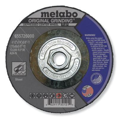 """METABO Grinding Wheel, T27, A24N, 4.5X1/4""""X5/8""""-11"""