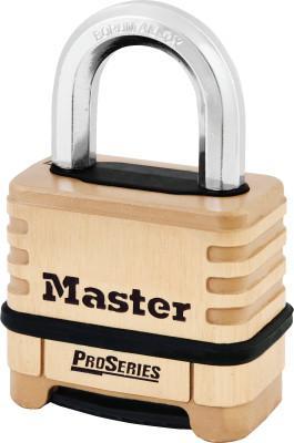 "MASTER LOCK ProSeriesResettable Combination Locks,3/8""Dia, 1 1/16""L X 15/16""W, Brass, Boxed"