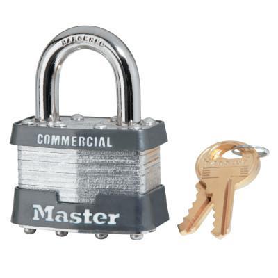 MASTER LOCK Laminated Padlocks Alike Key Code 3357,  5/16 in Diam., 3/4 in W, Chrome/Gray