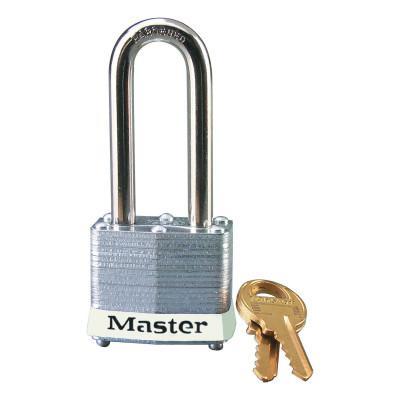 MASTER LOCK Laminated Steel Safety Padlocks, 9/32 in D, 2 in L x 5/8 in W, White