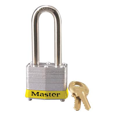 MASTER LOCK Laminated Steel Safety Padlocks, 9/32 in D, 2 in L x 5/8 in W, Yellow