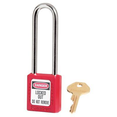 MASTER LOCK Red Zenex Safety Padlocks, 25/32 in, 3 in, 1/4 in, Red