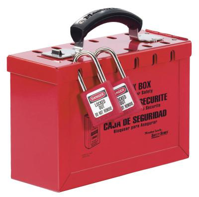 MASTER LOCK Group Lock Box, 9-1/4 in L x 6 in H x 3-3/4 in W, Steel, Red