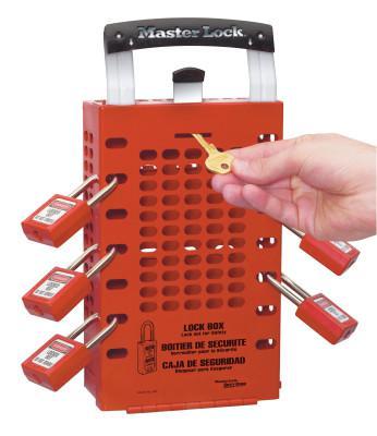 MASTER LOCK Latch Tight Lock Box, 3 1/2 in L x 12 3/4 in H x 6 3/8 in W, Steel, Red