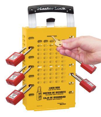 MASTER LOCK Latch Tight Lock Box, 3 1/2 in L x 12 3/4 in H x 6 3/8 in W, Steel, Yellow