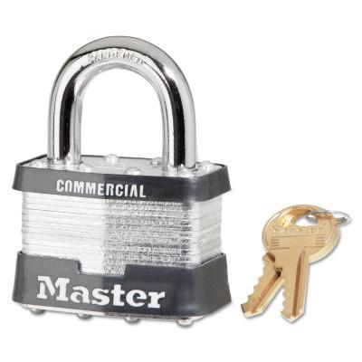 MASTER LOCK Laminated Steel Pin Tumbler Padlocks, 3/8 in Dia, 15/16 in Width, Chrome