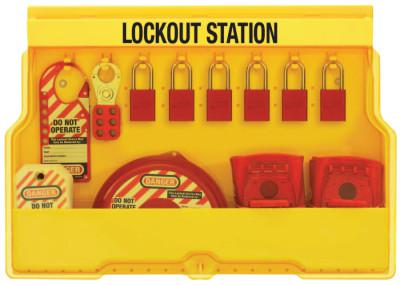 MASTER LOCK Safety Series Lockout Stations, 22 in, Valve, Anod. Alum., 1/4, 1 1/2, 25/32 in