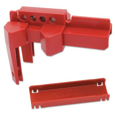 MASTER LOCK Adjustable Ball Valve Lockouts, 1 1/2-2 in valves, Red