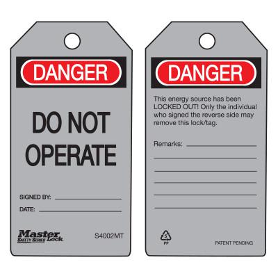 MASTER LOCK Danger Do Not Operate - Metal Detectable Safety Tags, 3 in x 5 3/4 in, Gray