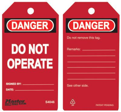 MASTER LOCK Guardian Extreme Safety Tags, 5 3/4 x 3 in, Danger - Do Not Operate, Red