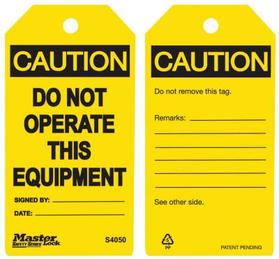 MASTER LOCK Guardian Extreme Safety Tags, 5 3/4 x 3 in, Caution - Do Not Operate This Equip.