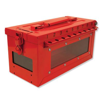MASTER LOCK Red Steel Group Lockout Box, Max Number of Padlocks: 19, 5-43/64 in x 6-27/64 in