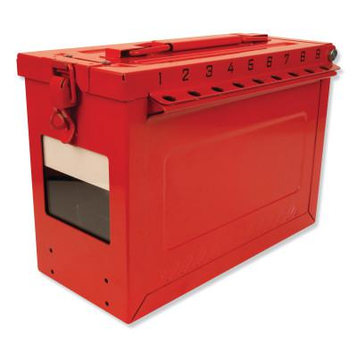 MASTER LOCK Red Steel Group Lockout Box, Max Number of Padlocks: 19, 9-1/16 in x 6-27/64 in