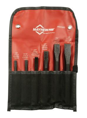 MAYHEW TOOLS 6 Pc. Cold Chisel Kit, Alloy Steel, English, Pouch