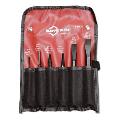 MAYHEW TOOLS 6 Pc. Punch & Chisel Kits, Round/Beveled/Pointed, English, 4 Punches, 2 Chisels