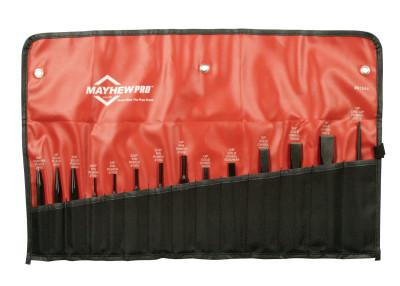 MAYHEW TOOLS 8 Pc. Punch & Chisel Kits, Round/Beveled/Pointed, English, 5 Punches, 3 Chisels