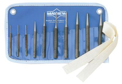 MAYHEW TOOLS 10 Pc. Knurled Punch Kits, Round; Pointed, English, Pouch