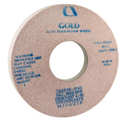CARBORUNDUM Gold Toolroom Wheels, Type 5, 14 in Dia., 1 1/2 in Thick, 32 Grit, R Grade