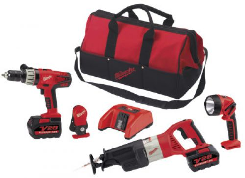 MILWAUKEE ELECTRIC TOOLS V28 Cordless Combo Kits, Sawzall Recip Saw; Hammer Drill; Work Light