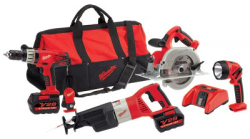 MILWAUKEE ELECTRIC TOOLS V28 Cordless Combo Kits, Sawzall Recip Saw; Hammer Drill;Circular Saw;Work Light