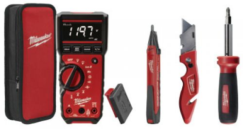 MILWAUKEE ELECTRIC TOOLS Electrical Combo Kit, RMS Multimeter & Voltage Detector w/Tools, Batteries, Case