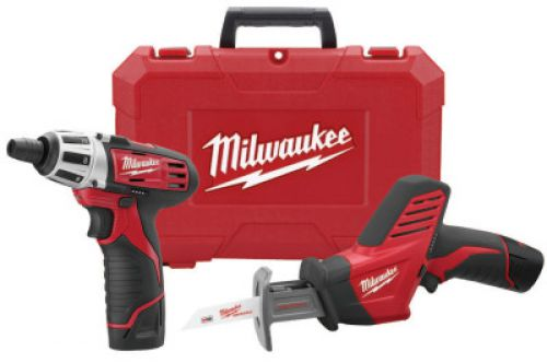MILWAUKEE ELECTRIC TOOLS M12 Cordless Combo Kits, 2420-22 Hackzall Recip Saw;2401-22 SubCompact DrvrDrill